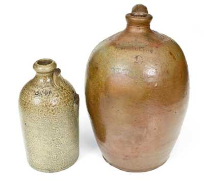 Lot of Two: Rare Marked Stoneware Jugs, J. A. C. (J. A. Craven, NC) and J. M. MILLER (Ohio)