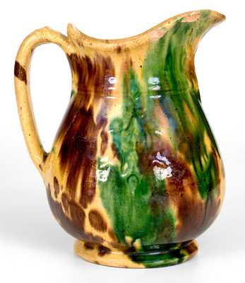 Very Rare Molded Multi-Glazed Shenandoah Valley Redware Pitcher, Strasburg, VA, c1890