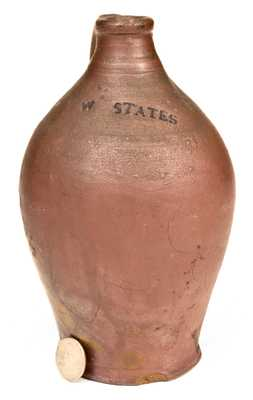 Very Rare W. STATES, Stonington, CT Quart-Sized Stoneware Jug