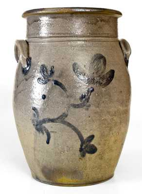 Unusual 2 Gal. Western PA Stoneware Jar with Brushed Floral Decoration