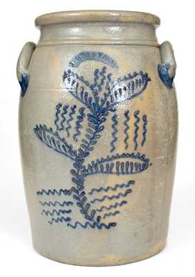 4 Gal. J. WEAVER, Beaver, PA, Stoneware Jar with Elaborate Slip-Trailed Decoration