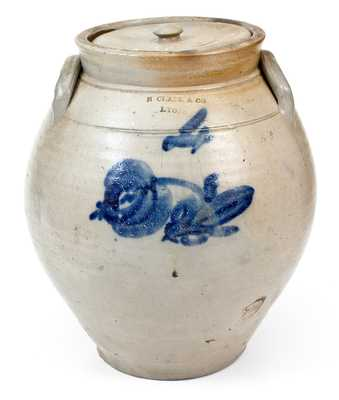 4 Gal. N. CLARK & CO. / LYONS Ovoid Stoneware Lidded Jar w/ Floral Decoration