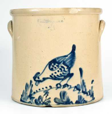 4 Gal. BRADY & RYAN / ELLENVILLE, NY Stoneware Crock w/ Pecking Chicken Decoration