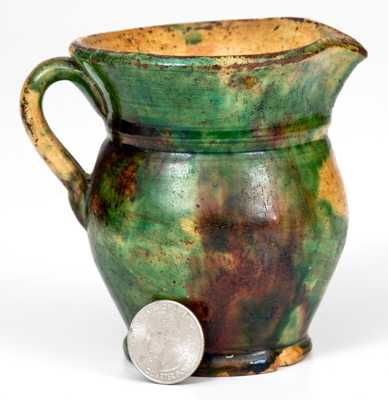 Very Fine Small-Sized Multi-Glazed Redware Pitcher, Strasburg, VA, circa 1890