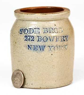 Small TODE BROS / 272 BOWERY / NEW YORK Salt-Glazed Stoneware Jar