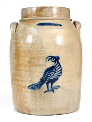 WHITES UTICA Stoneware Jar with Bold Cobalt Bird Decoration