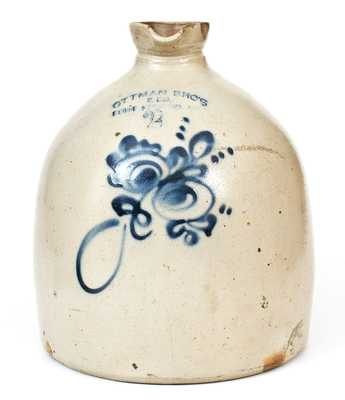 2 Gal. OTTMAN BROS. & CO. / FORT EDWARD, NY Stoneware Syrup Jug