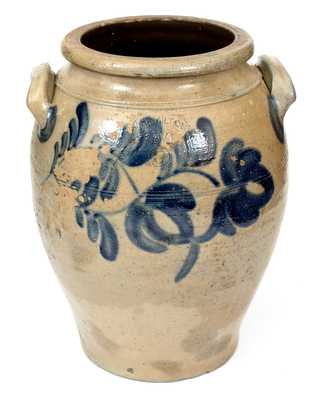 6 Gal. J. HAMILTON / BEAVER Stoneware Jar with Bold Cobalt Floral Decoration