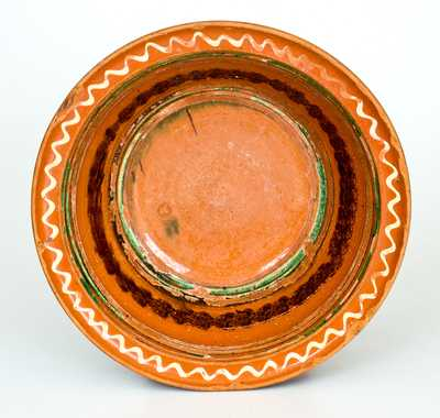 Pennsylvania Redware Bowl w/ Multi-Colored Slip Decoration