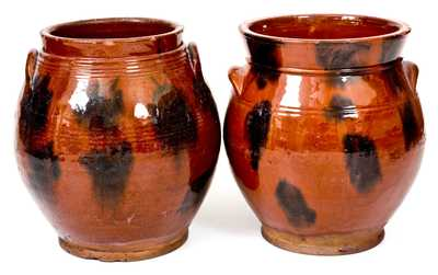 Lot of Two: Norwalk, Connecticut Redware Jars with Manganese Decoration