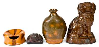 Lot of Four: American Redware Spaniel, Ladies Spittoon, and Flask with Sewertile Frog