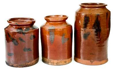 Lot of Three: Norwalk, Connecticut Redware Jars w/ Manganese Decoration