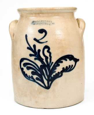 2 Gal. JOHN BURGER / ROCHESTER Stoneware Jar with Slip-Trailed Leaf Decoration