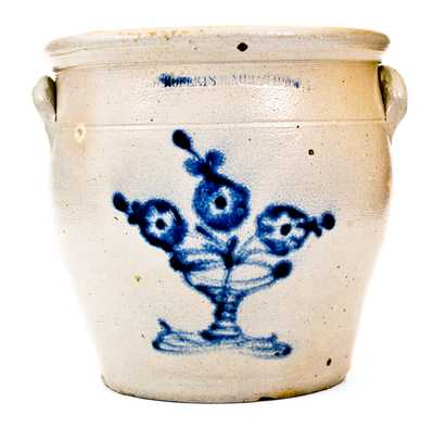 W. ROBERTS BINGHAMTON, NY Stoneware Jar with Flowering Urn Decoration