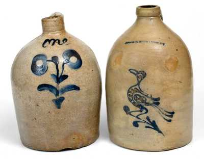 Lot of Two: 1 Gal. Stoneware Jugs incl. W. ROBERTS BINGHAMTON w/ Bird Decoration