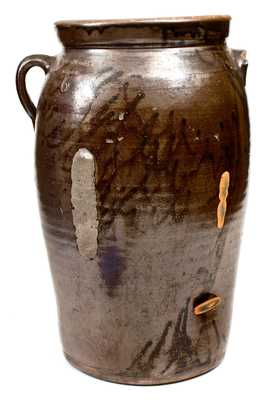O. HENRY POTTERY / Valdese, N.C. 6 Gal. Stoneware Churn w/ Albany Slip Decoration