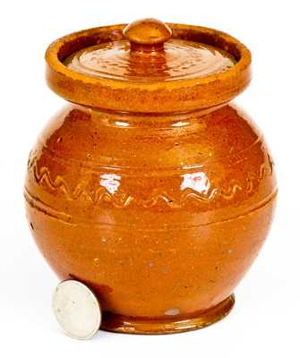 Very Unusual Small-Sized Redware Lidded Jar,