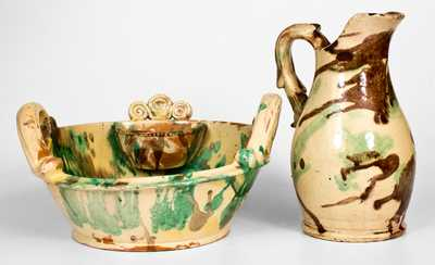 Fine Strasburg, VA Multi-Glazed Redware Pitcher and Washbowl Set