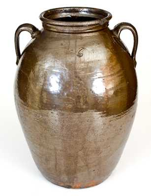 Rare 6 Gal. JBL (Jesse Bradford Long, Crawford County, GA) Double-Handled Stoneware Jar