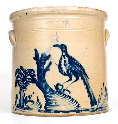 Elaborate Haxstun, Ottman & Co. / Fort Edward, NY Bird Scene Crock