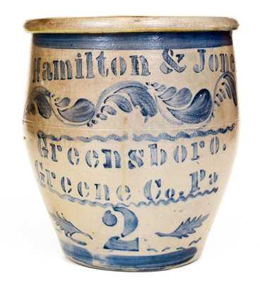 Exceptional Hamilton & Jones / Greensboro / Greene Co. Pa Stoneware Jar