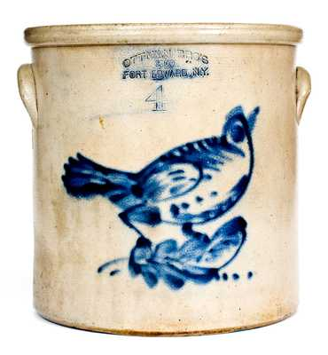 OTTMAN BRO'S & CO. / FORT EDWARD, NY Stoneware Crock w/ Unusual Bird Decoration