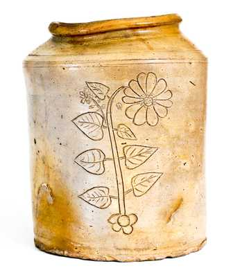 Unusual Northeastern U.S. Stoneware Jar w/ Fine Incised Floral Decoration