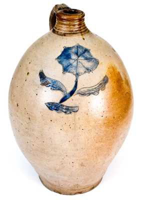 3 Gal. CT Stoneware Jug with Fine Slip-Trailed Floral Decoration