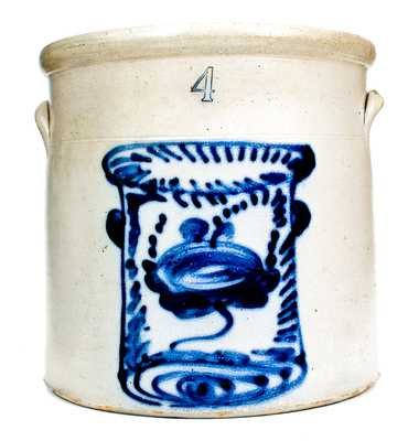 Unusual 4 Gal. New York Stoneware Crock with