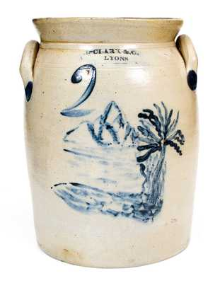 Very Rare N. CLARK & CO. / LYONS Stoneware Jar w/ Fine Landscape Decoration