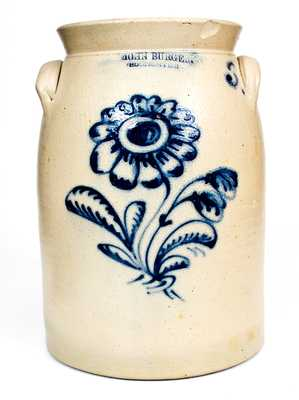 JOHN BURGER / ROCHESTER Stoneware Jar w/ Fine Slip-Trailed Floral Decoration