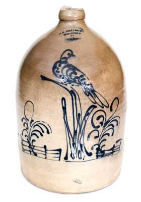 Rare and Exceptional S. D. KELLOGG/ WHATELY Stoneware Jug with Elaborate Bird Scene