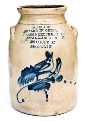 Unusual Stoneware Jar w/ Profuse BROOKLYN Advertising and Bird Decoration