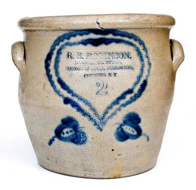 Very Unusual CORNING, NY Stoneware Advertising Jar