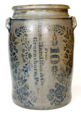 10 Gal. James Hamilton & Co. / Greensboro, PA Stoneware Jar w/ Profuse Decoration