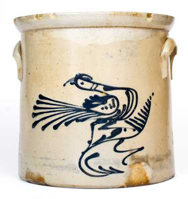 4 Gal. WHITES UTICA, NY Stoneware Crock with Slip-Trailed Bird Decoration