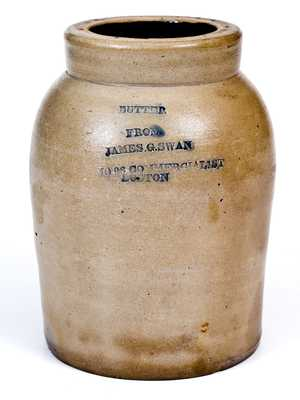 Small Sized Stoneware BUTTER Jar with Impressed BOSTON Advertising