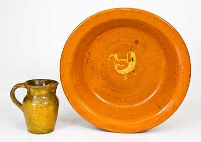 Lot of Two: Jugtown, NC Redware Plate with Chicken and Pitcher