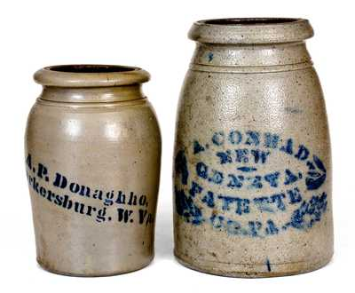 Lot of Two: PARKERSBURG, W. VA and NEW GENEVA, PA Stoneware Canning Jars
