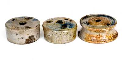 Lot of Three: Cobalt-Decorated Stoneware Inkwells, probably New York State, circa 1825