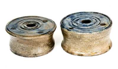 Lot of Two: Stoneware Inkwells with Cobalt Tops, early 19th century