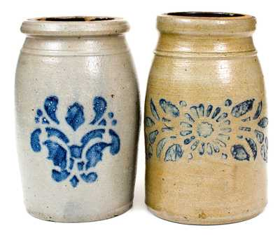 Lot of Two: Western PA Stoneware Wax Sealers with Stenciled Decorations