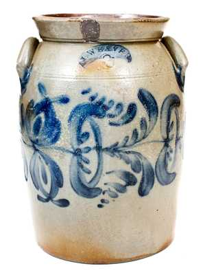 3 Gal. J. WEAVER, Beaver, PA Stoneware Jar with Profuse Floral Decoration