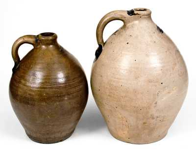 Two SMITH & DAY / NORWALK Stoneware Jugs with Cobalt Decoration, CT origin, circa 1840