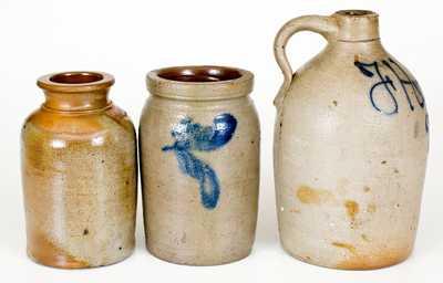 Lot of Three: Small Stoneware Vessels incl. Wilkes Barre Jug, WM. HARE / WILMINGTON Jar