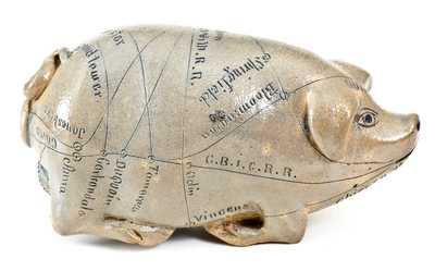 Fine Salt-Glazed Stoneware Anna Pottery Pig Bottle w/ Elaborate Inscription