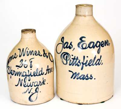 Lot of Two: Newark, NJ and Pittsfield, MA Stoneware Advertising Jugs
