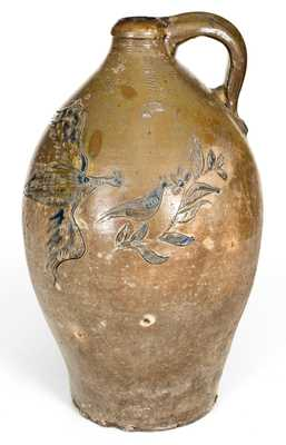 Outstanding Early American Stoneware Jug w/ Incised Eagle and Bird Scene