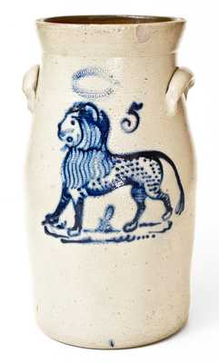J. BURGER, JR. / ROCHESTER, N.Y. Stoneware Lion Churn