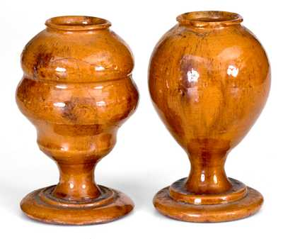 Extremely Rare Pair of New England Redware Whale Oil Lamps